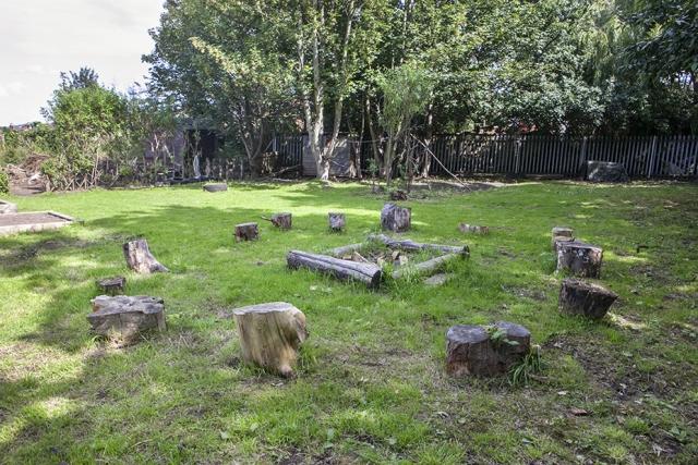 Fireplace and circle of seats on Washwood Heath Nursery plot